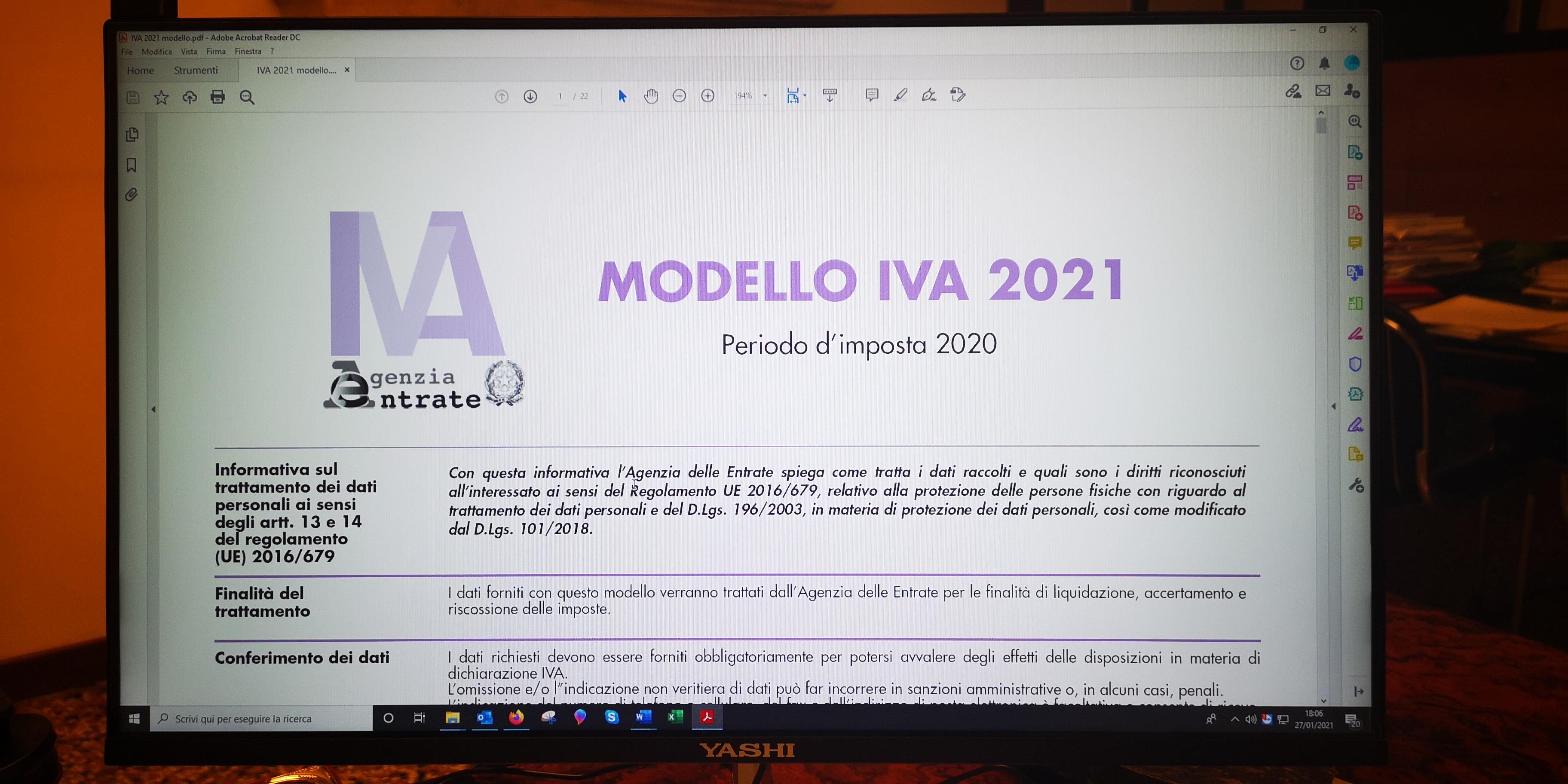 DICHIARAZIONE IVA 2021 RACCOLTA DATI 2020